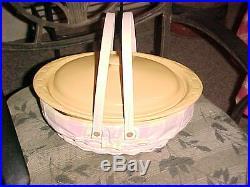 NEW Retired Oval ROASTER WW BASKET with 3 QT Butternut Pottery Casserole Set