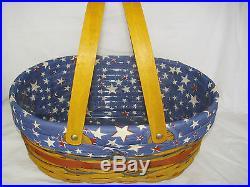 OVAL MARKET Basket set With LID Patriotic American Celebration Longaberger NEW