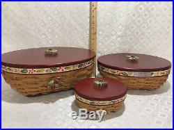 RARE Christmas Longaberger HOLLY BERRY TRIO Basket SETLarge-Medium & Little