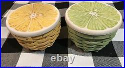 Set of 2 Longaberger Lemon and Lime Baskets Green Yellow Fruit Kitchen