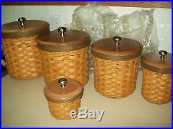 Set of 5 Longaberger 2007 Crock/Canister Basket Combo Set Complete
