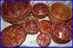 Set of 5 Longaberger Pumpkin Fall Basket -Large to Little Liner & ProtectorLid