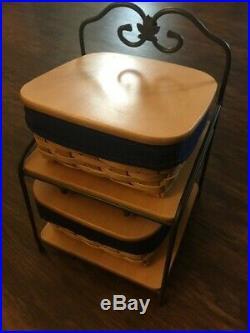 Wrought iron Vintage Longaberger 2003 Baker's rack basket set with lids